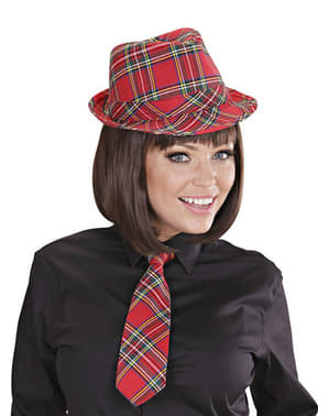 Red tartan hat