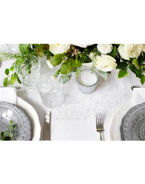 Organza tafelloper met parel reliëf, wit & zilver