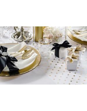 Přehoz přes stůl z látky organza průhledný se zlatými & stříbrnými puntíky