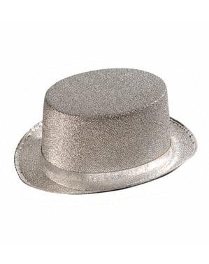 Sombrero de copa plateado grande