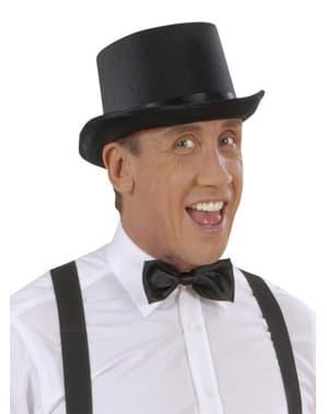 Sombrero de copa negro de raso
