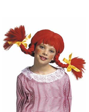 Peruk med röda flätor för flickor