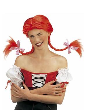 Peruk busig rödhårig flicka