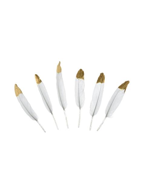 6 plumas decorativas blancas con puntas doradas - Dusty Blue