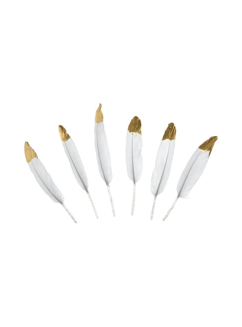 6 penas brancas decorativas com pontas douradas - Dusty Blue