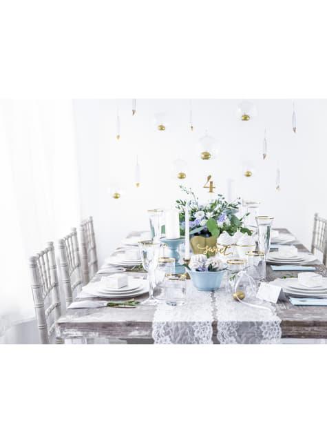 6 plumas decorativas blancas con puntas doradas - Dusty Blue - barato