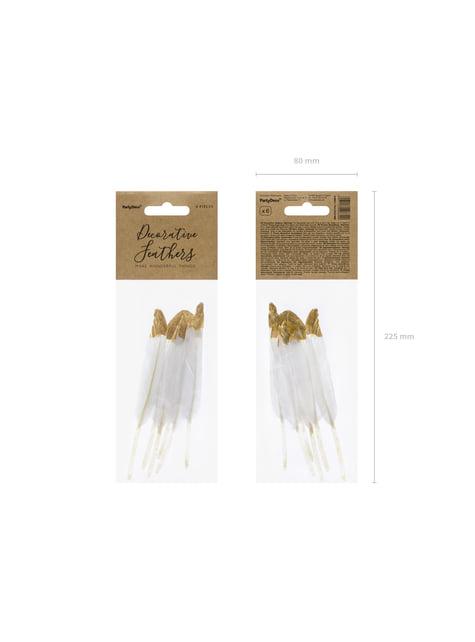 6 plumas decorativas blancas con puntas doradas - Dusty Blue - comprar