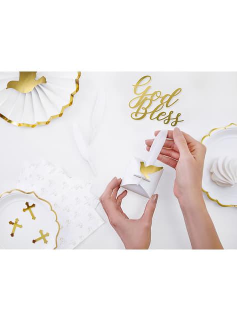 8 plumas decorativas blancas - First Communion - para tus fiestas