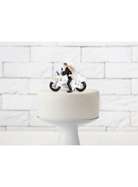 Figurine pour gâteau de mariage avec mariés en moto