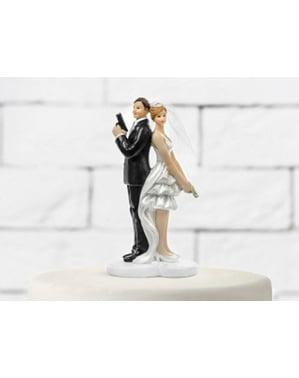 Bruidstaart figuur met geheime agent bruid en bruidegom