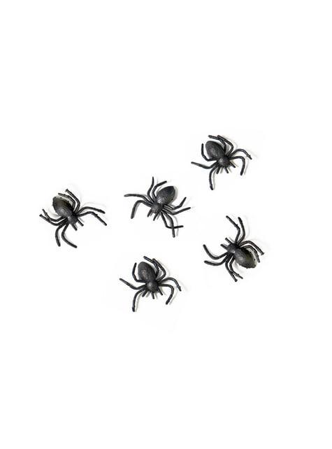 10 Plastic Spiders, Black - Halloween
