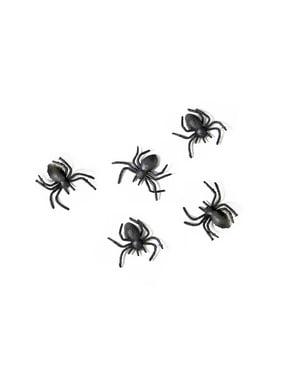 Комплект от 10 пластмасови паяка, черен - Хелоуин
