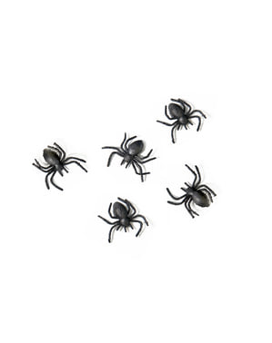 10 Plastic Spiders, Black - Halloween