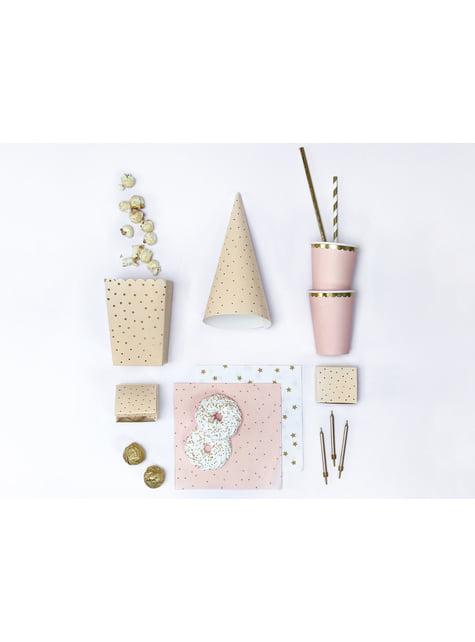 6 cajas de palomitas rosas con lunares dorados de papel - Touch of Gold - para tus fiestas