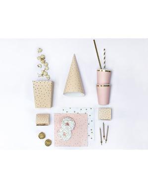 6 caixas de pipocas rosas com pintas douradas de papel - Touch of Gold
