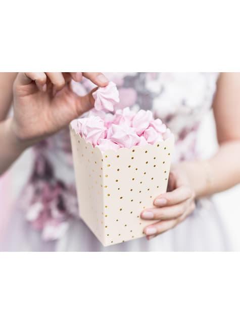 6 contenitori per pop corn rosa con pois dorati di carta - Touch of Gold