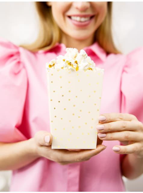 6 boîtes à Popcorn roses pois dorés en carton - Touch of Gold