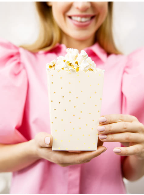 6 cajas de palomitas rosas con lunares dorados de papel - Touch of Gold - para decorar todo durante tu fiesta