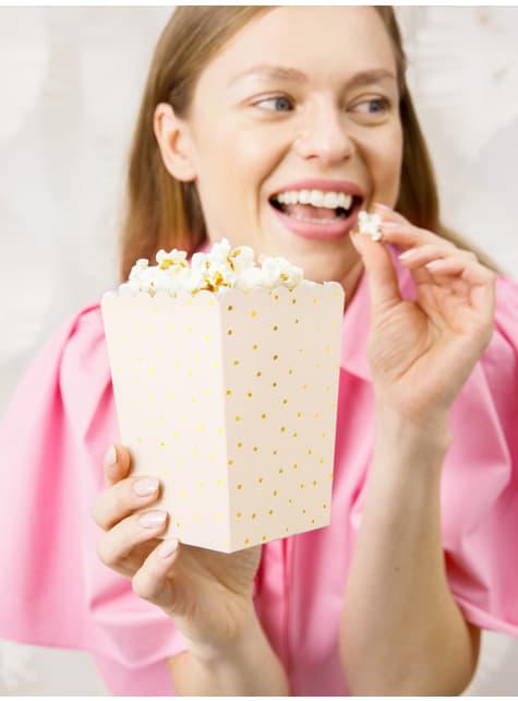 6 cajas de palomitas rosas con lunares dorados de papel - Touch of Gold - el más divertido