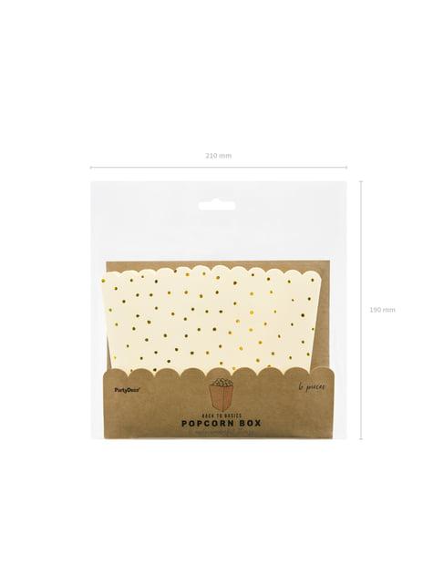 6 קופסאות של פופקורן עם נקודות נייר הזהב בוורוד - מגע של זהב