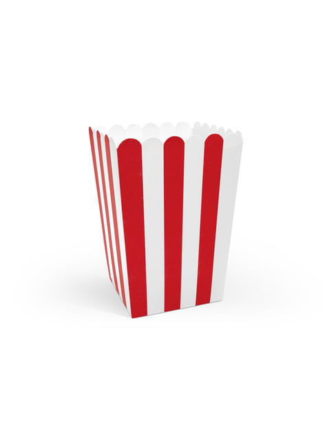 6 boxes of popcorn with paper stripes in red - Pirates Party