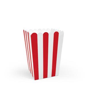 6  æsker til popcorn med papirstriber i rød - Pirates Party