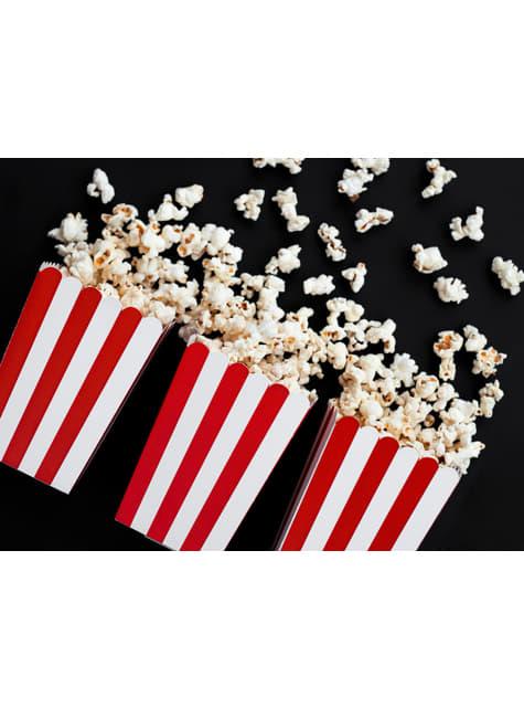 Zestaw 6 pudełka na popcorn w czerwone paski - Pirates Party