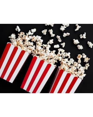 6 bokser med popcorn og med papir striper i rød - Pirates Party