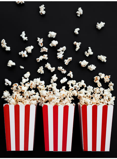 6 Popcorn Schachteln rot-weiß gestreift - Pirates Party