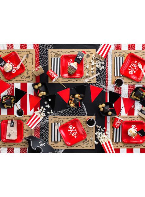 6 boîtes à Popcorn rouges à rayures en carton - Pirates Party