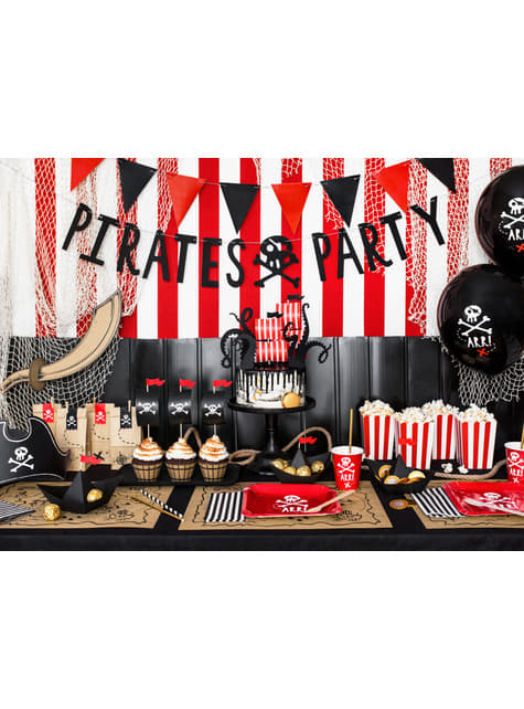 6 contenitori per pop corn rossi con strisce di carta - Pirates Party