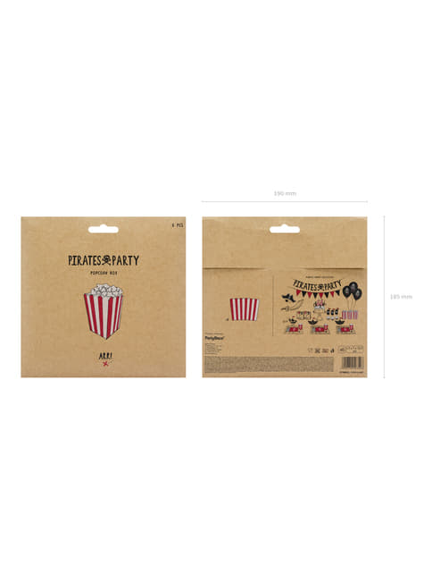 6 cajas de palomitas rojas con rayas de papel - Pirates Party - original