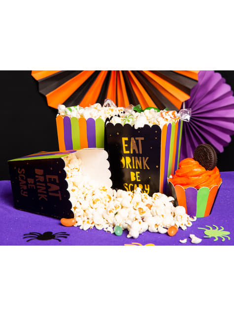 6 Popcorn Schachteln mit buntem Aufdruck - Hocus Pocus Collection