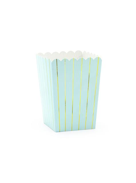 6 contenitori per pop corn blu con strisce dorate di carta - Touch of Gold