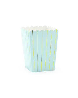 6 caixas de pipocas azuis com riscas douradas de papel - Touch of Gold