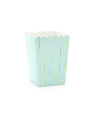 6 Popcorn Schachteln blau mit goldenen Streifen - Touch of Gold