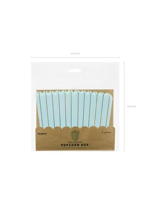6 קופסות של פופקורן עם פסי נייר זהב בכחול - מגע של זהב