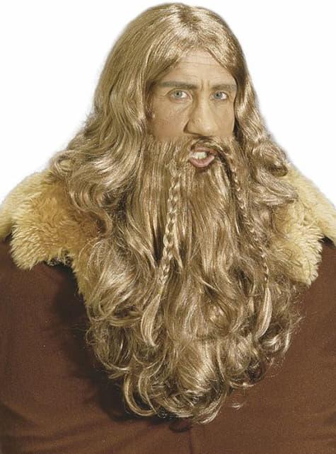 Peruca e barba de viking