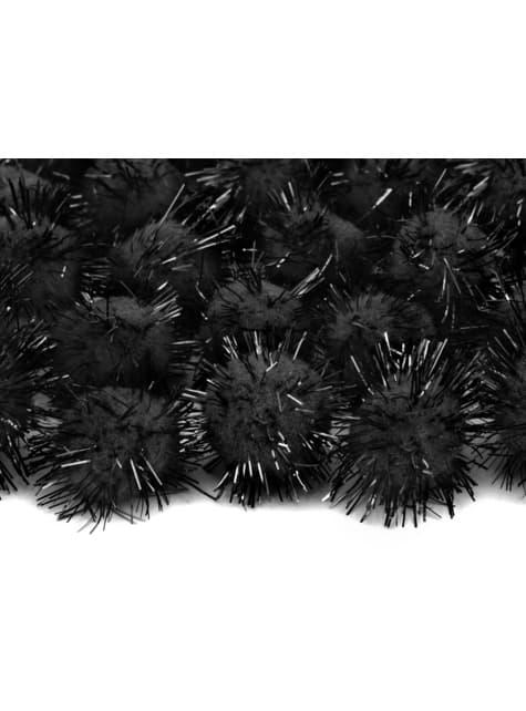 Balení 20 černých dekorativních bambulek se štětinami