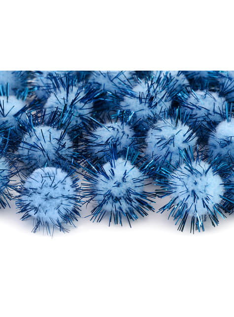 Balení 20 modrých dekorativních bambulek se štětinami