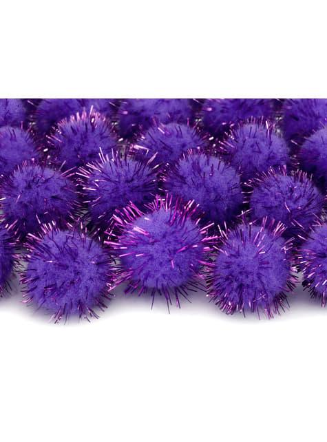 Balení 20 fialových dekorativních bambulek se štětinami