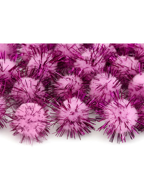 Balení 20 růžových dekorativních bambulek se štětinami