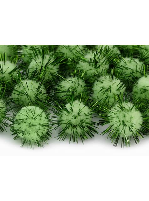 Balení 20 zelených dekorativních bambulek se štětinami