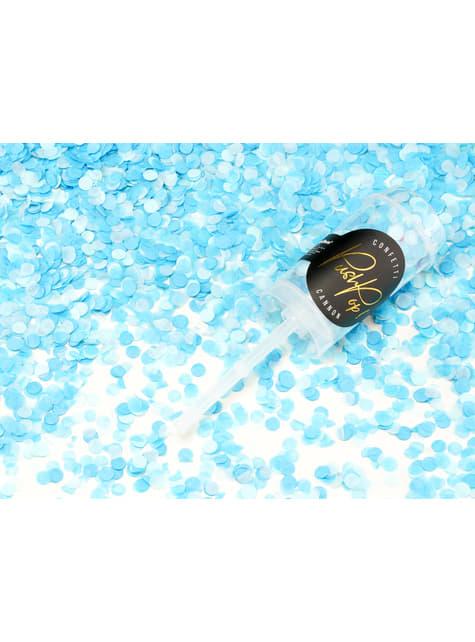 Canon à confettis push pop bleu