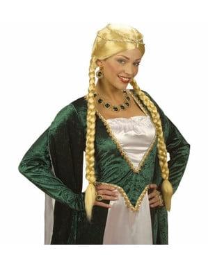 Blond middelalderprinsesse paryk
