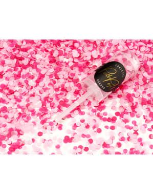 Canhão push pop de confete cor-de-rosa