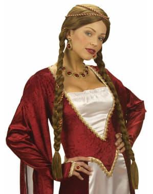 Pruik kastanje middeleeuwse prinses