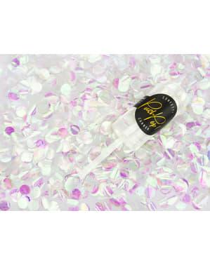 Canhão push pop de confete iridescente