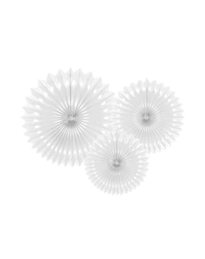 3 decorative paper fans in  white (20-25-30 cm)