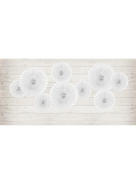Conjunto de 3 Leques de papel decorativos brancos de 20 a 30 cm